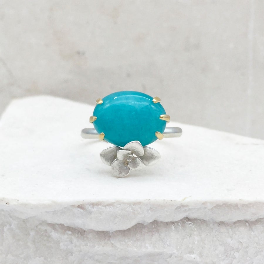 Image of Amazonite and Succulent Ring in 14k Gold and Silver