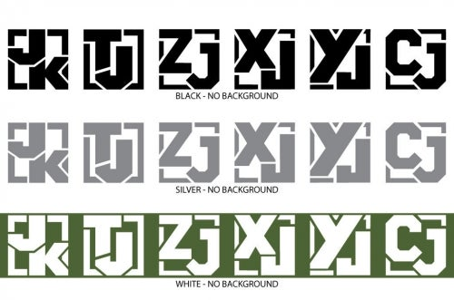 """Image of Jeep Model Code Decal 4""""x4""""-Set of 2"""