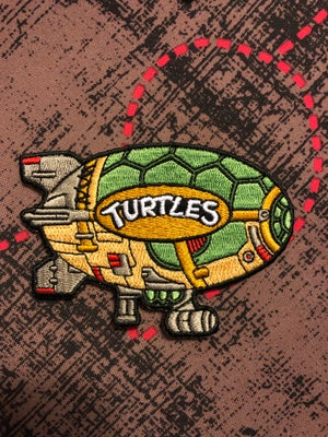 "Image of 4"" Turtle Blimp Iron On Patch"