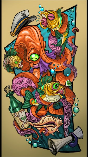 Image of Tony Ciavarro & Robert Kane Octopus collab print