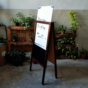 Medium Double Sided Poster Display Standing Chalkboard with Walnut Frame (90cm X 60cm)