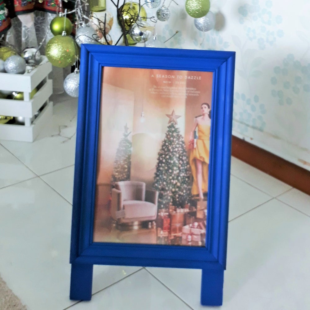 Image of Small Single Sided Poster Display Chalkboard with Blue Frame