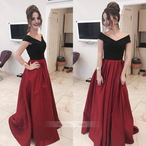 Image of Black And Red Off-Shoulder V-Neck Satin A-Line Long Formal Evening Gowns Prom Dresses