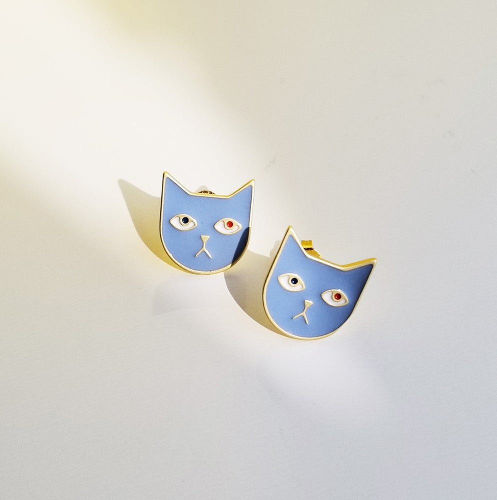 Image of Kitty Tom Earrings • Stainless steel • Silver