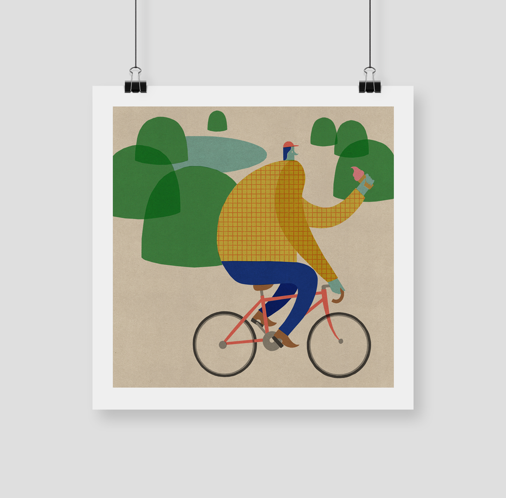 "Image of 420x420 ""CYCLING"" Giclee Print"