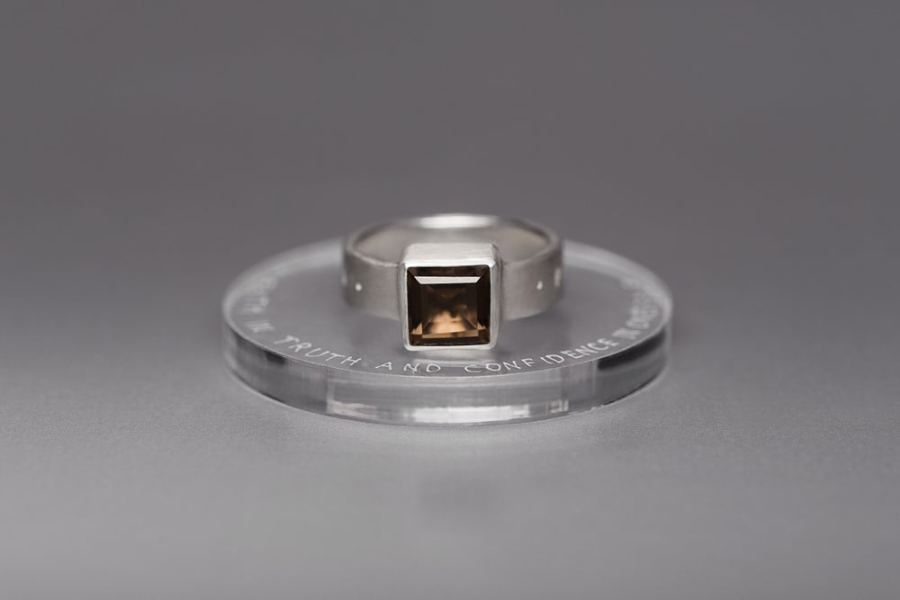 "Image of ""Faith in truth and confidence.."" silver ring with smoky quartz · FIDES VERI ET FIDUCIA ·"