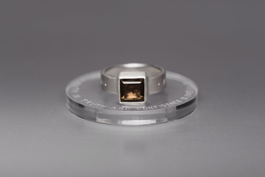 Image of silver ring with smoky quartz FIDES VERI ET FIDUCIA