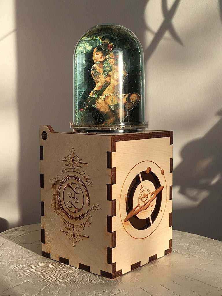 Image of HAND MADE SNOW GLOBE | AMO & HERA IN LIGHT WOODEN BOX