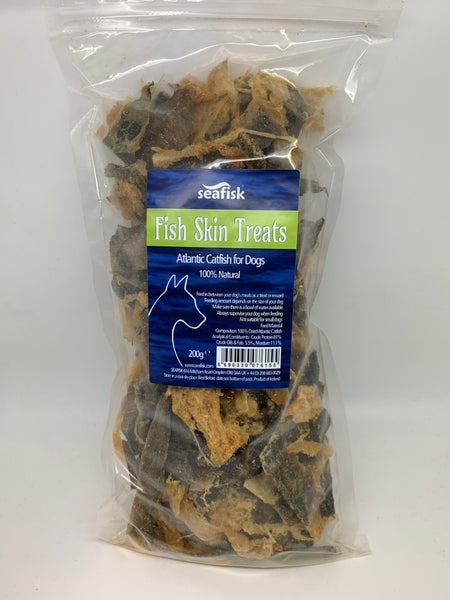 Image of FISH SKIN TREATS 1x200g - Dried Atlantic Catfish Skins for Dogs