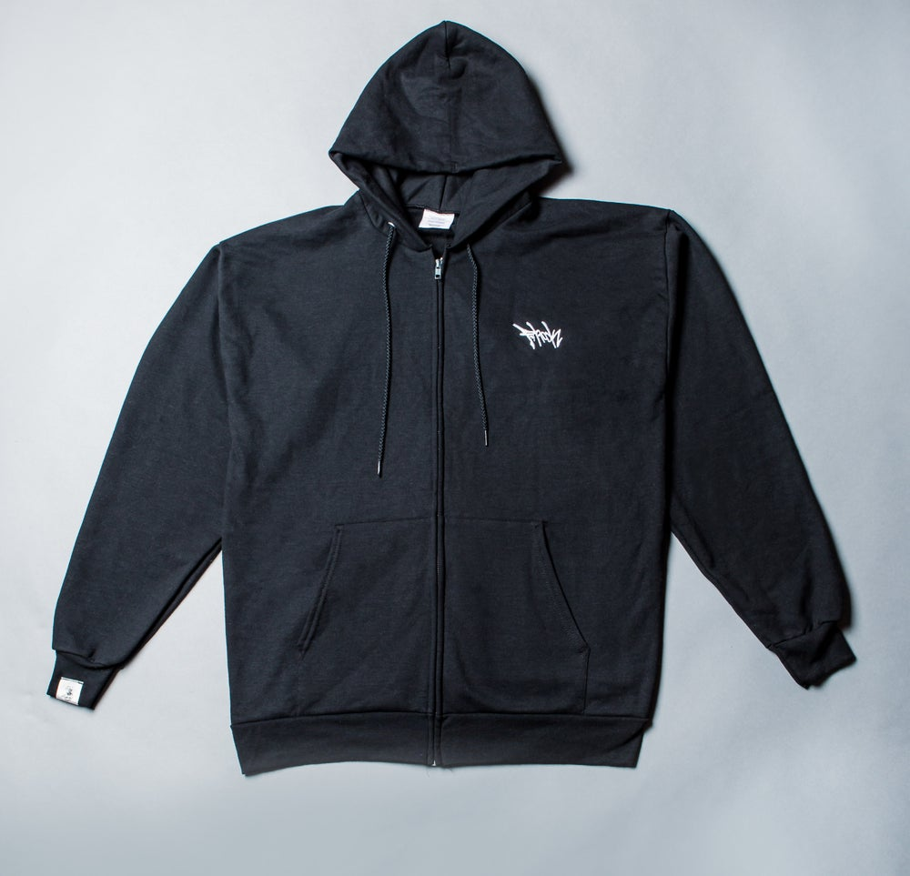 Image of F-Rock Tag Zip-Up Hoodie (Black)