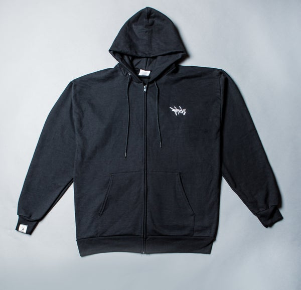 Image of F-Rock Tag Zip-Up Hoodie - Black/White