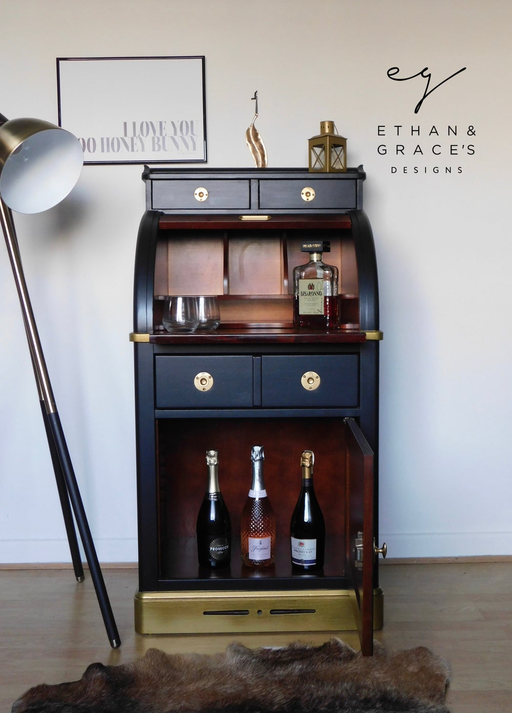 Image of Black & Gold bureau desk/ drinks cabinet
