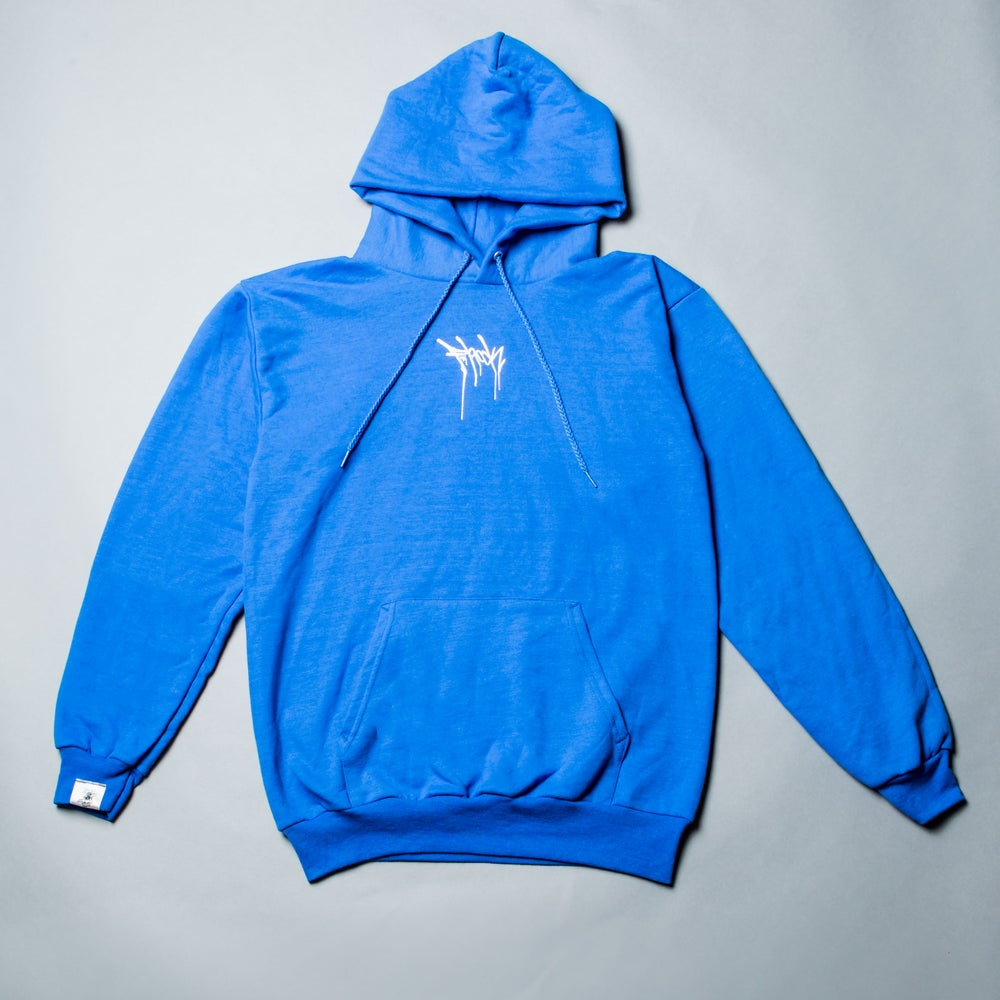 Image of F-Rock Drip Pull-Over Hoodie - Royal Blue/White
