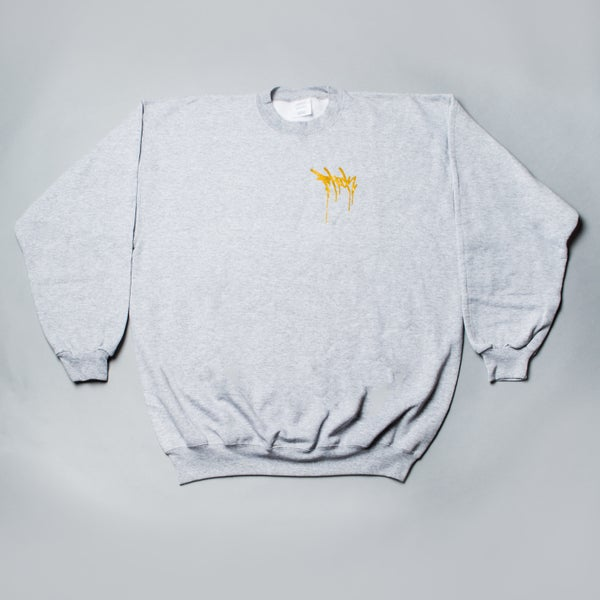 Image of F-Rock Drip Crew Neck - Heather Grey/Gold