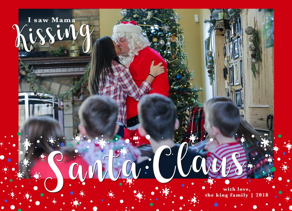 Image of Mama Kissing Santa Claus Christmas Cards