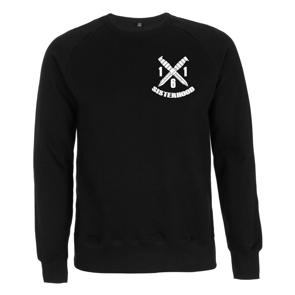 "Image of ""161 SISTERHOOD"" | Sweatshirt | black | bio | organic | Antifa | girlgang | ACAB | feminist | grlpwr"