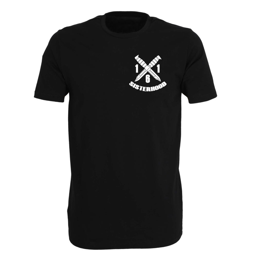 "Image of ""161 SISTERHOOD"" | T-Shirt | black | bio | fairtrade | straight edge | 161 | feminism | antifa |"