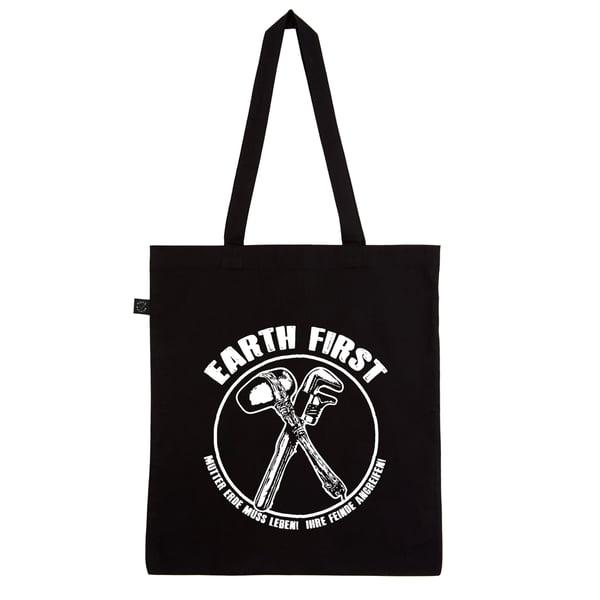 "Image of ""EARTH FIRST"" | Tote Bag | DIY | bio | organic | fck nzs | 161 | fight rasism | antifa |"