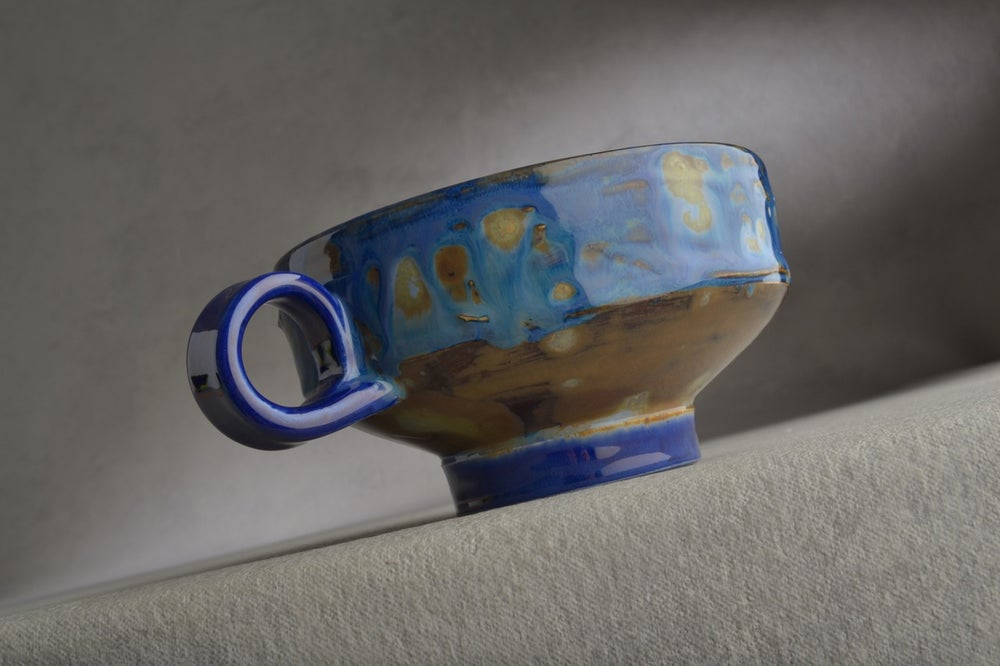 Image of Dottie Shaving Bowl Made To Order Starry Night Chawan Dottie Shaving Bowl by Symmetrical Pottery