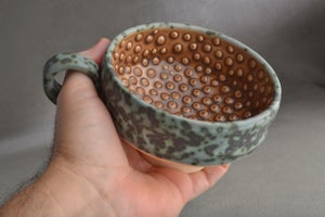 Image of Dottie Shaving Bowl Made To Order Gray and Brown Chawan Dottie Shaving Bowl by Symmetrical Pottery