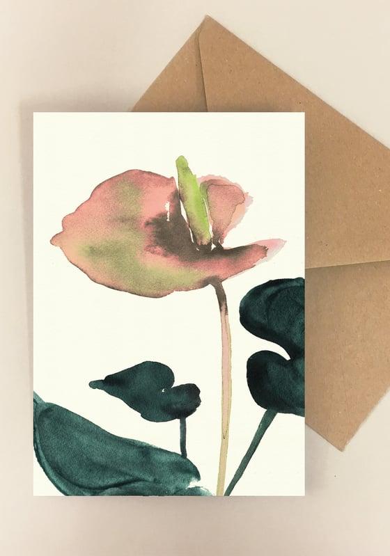 Image of 5 Notecards folded Flamingo Coral No.1009