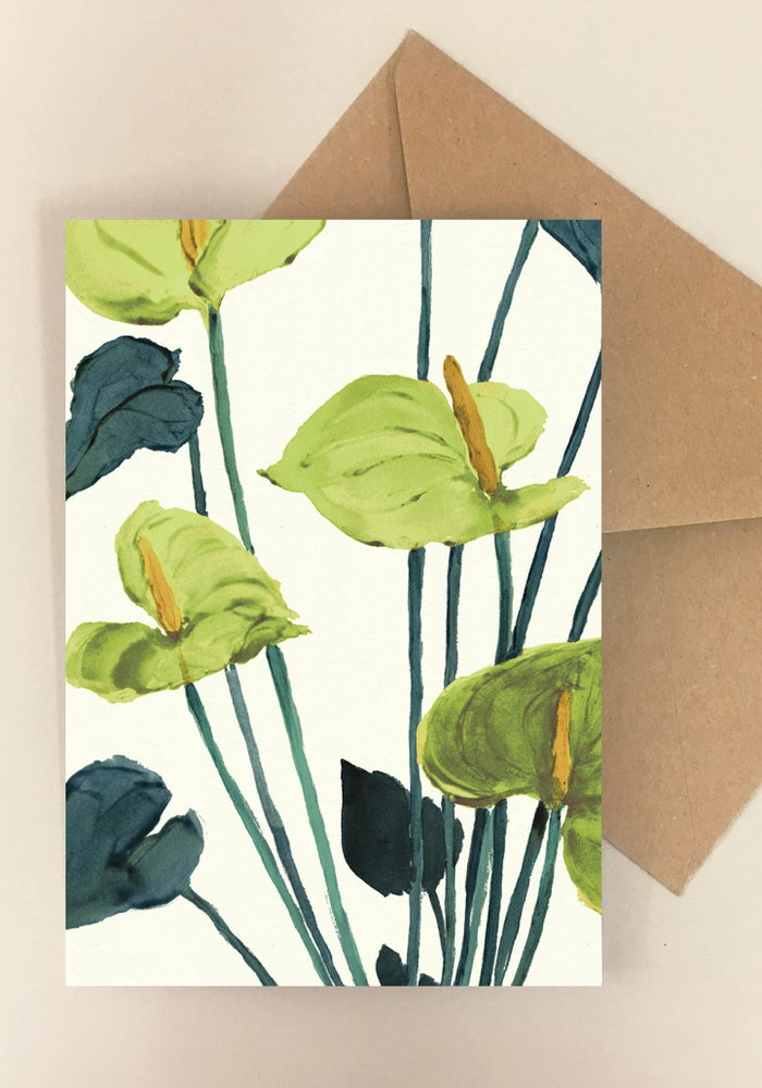 Image of 5 Notecards folded Anthurium Green No.1010