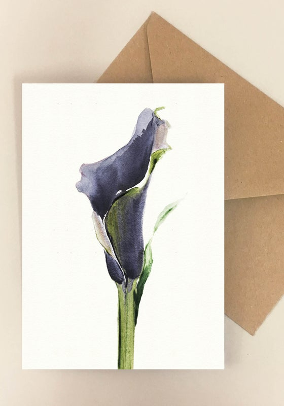 Image of 5 Notecards folded Calla Nero 1004