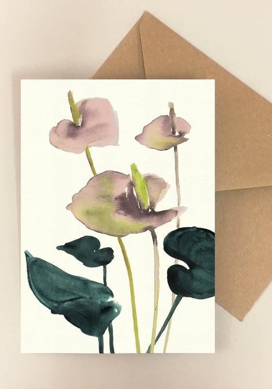 Image of 5 Notecards folded Flamingo Pink No.1003