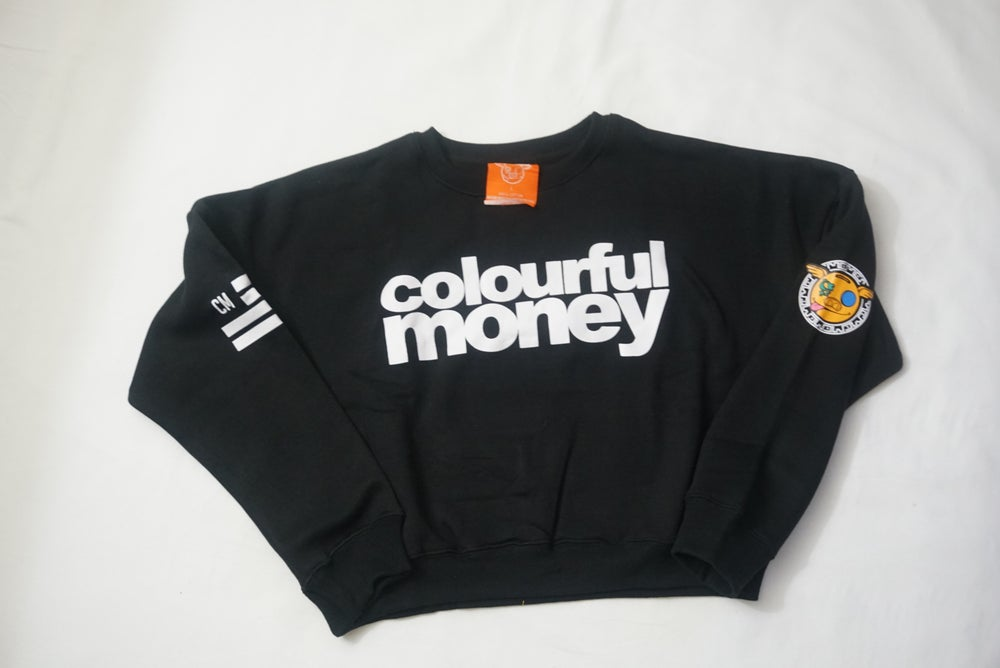 Image of Cropped Crew Neck Sweater w/ Font Logo