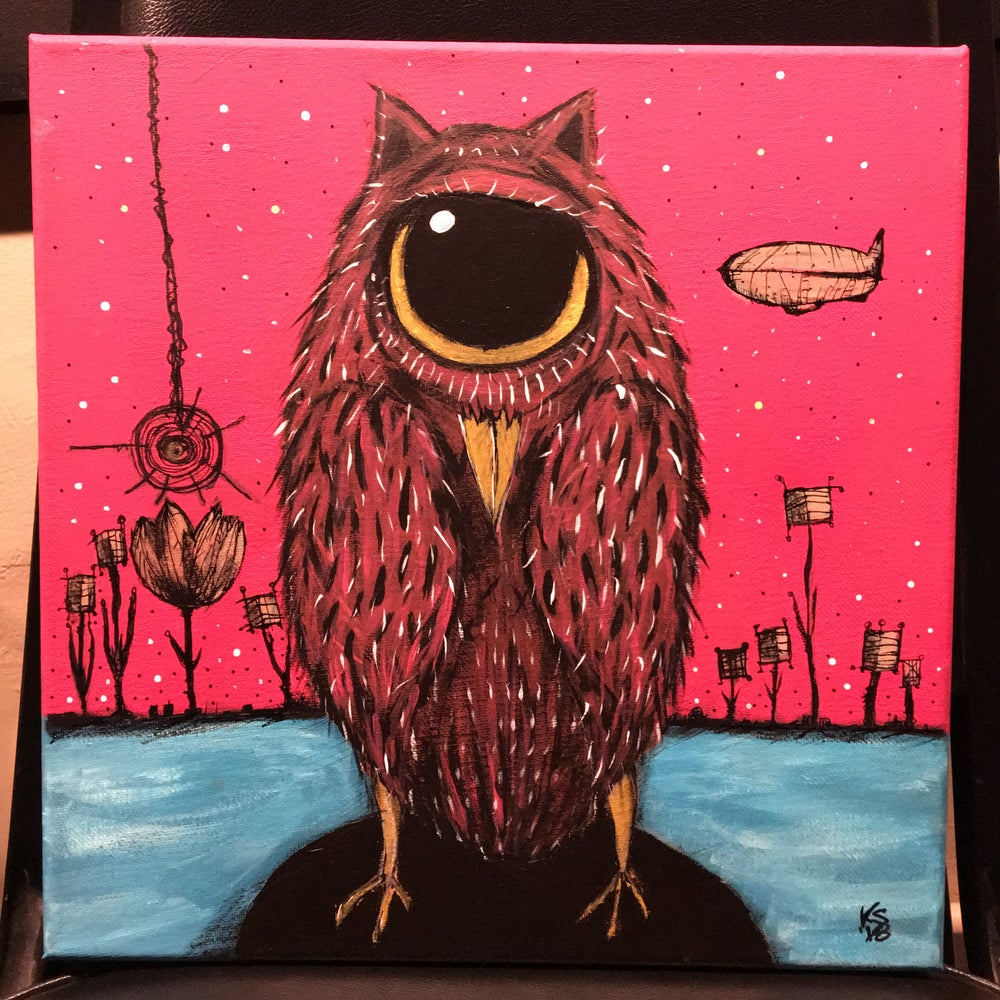 Image of ORIGINAL 12x12 acrylic/canvas, 'Tina Sinclair, The One-Eyed Owl'
