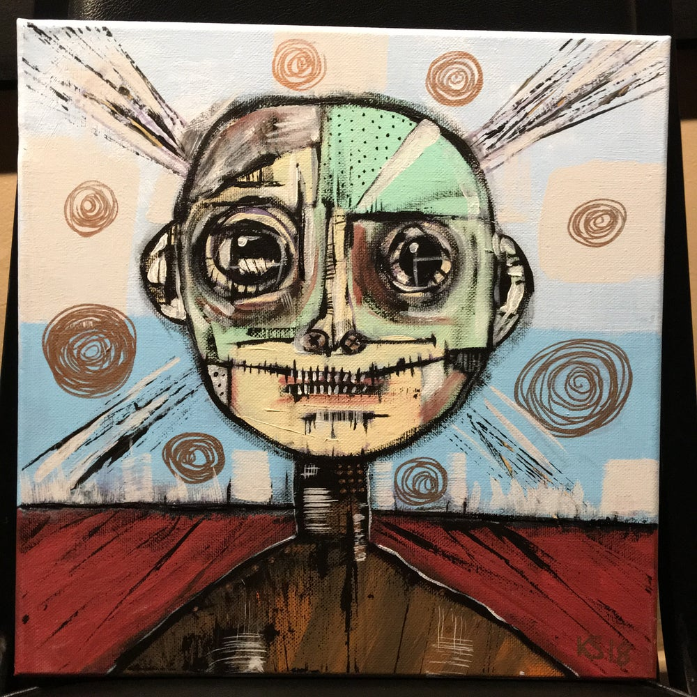Original 12x12 Acryliccanvas Charlie Went To School With Stigma