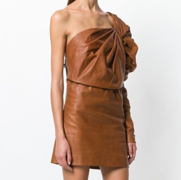 Image of SAINT LAURENT LEATHER DRESS