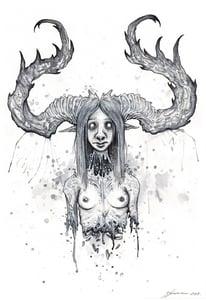 "Image of Necromanced Horned Forest Elf ORIGINAL 8"" X 12"""