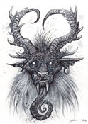 "Image of 'Krampus Felis' - The Cat Goat ORIGINAL 6"" X 8"""