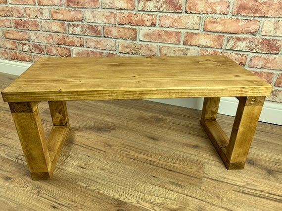 Chunky Solid Wood Coffee Table Tv Stand Finished In Dark Oak Wax
