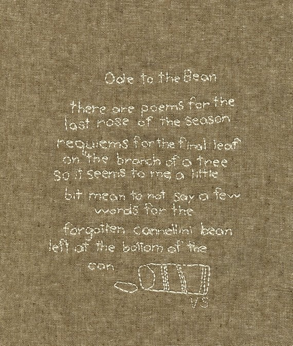 Image of Ode to the Bean. Original stitched poem.