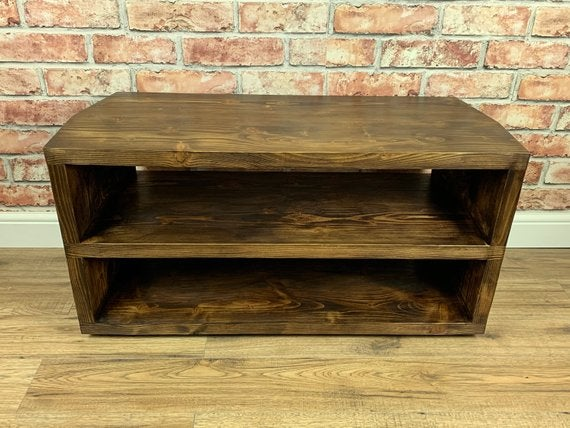 low priced 26184 6d059 Reclaimed Wood Corner TV Unit/Console in Walnut Wax for that Rustic Feel