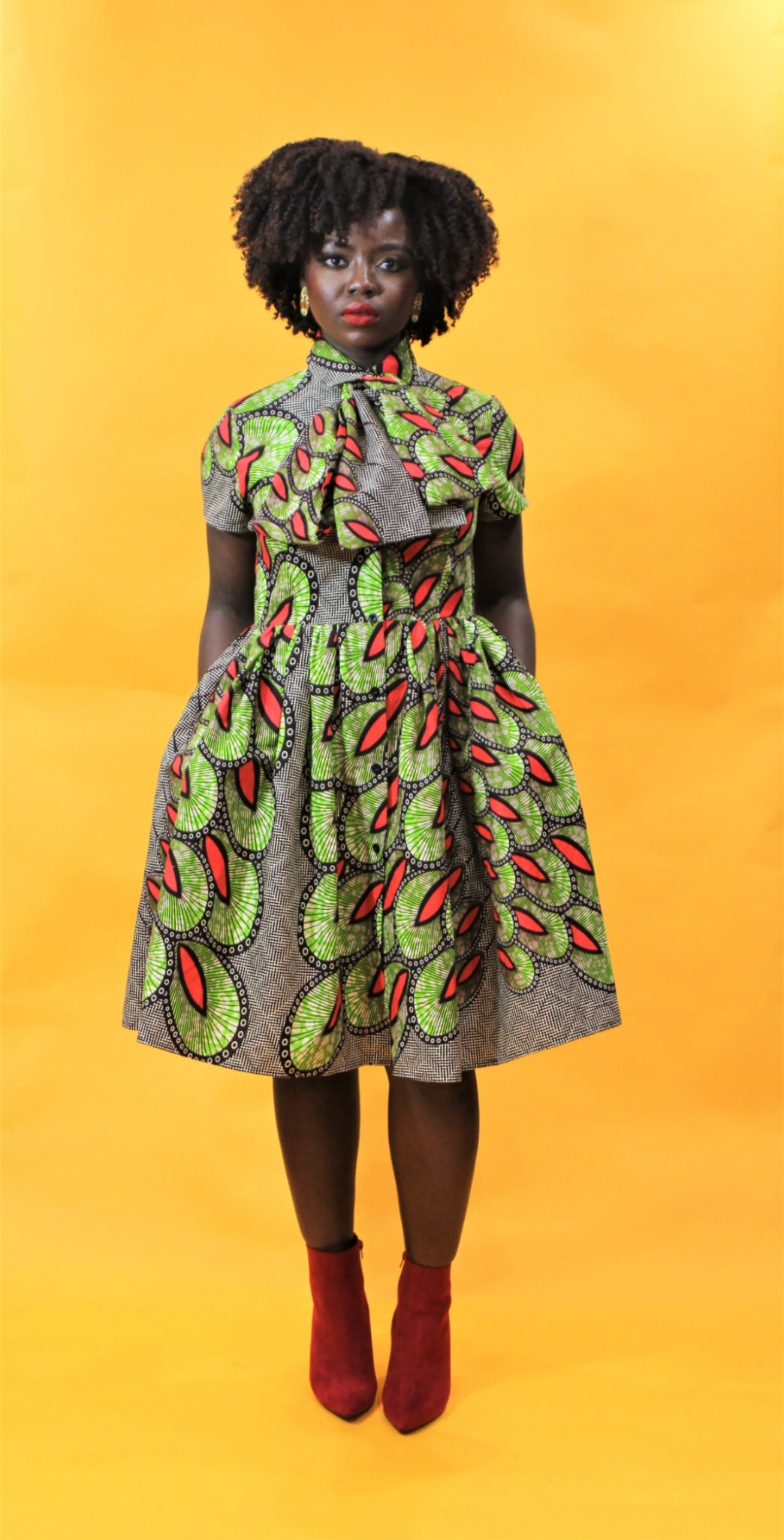 Image of IYA - African Ankara Print Pussy Bow Dress