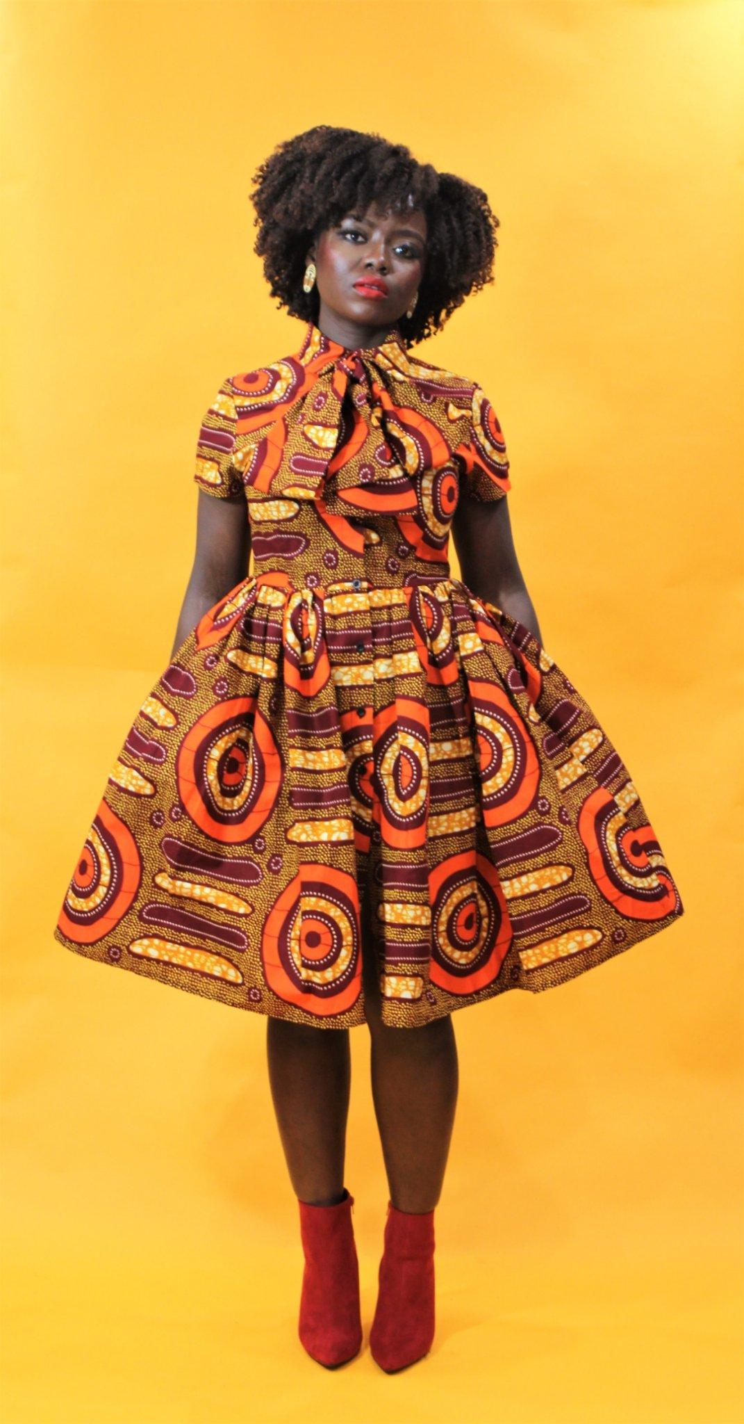 Image of Imani - African Ankara Print Pussy Bow Dress