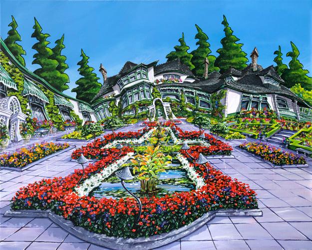 Image of Butchart Gardens 8x10 Block Mounted Print
