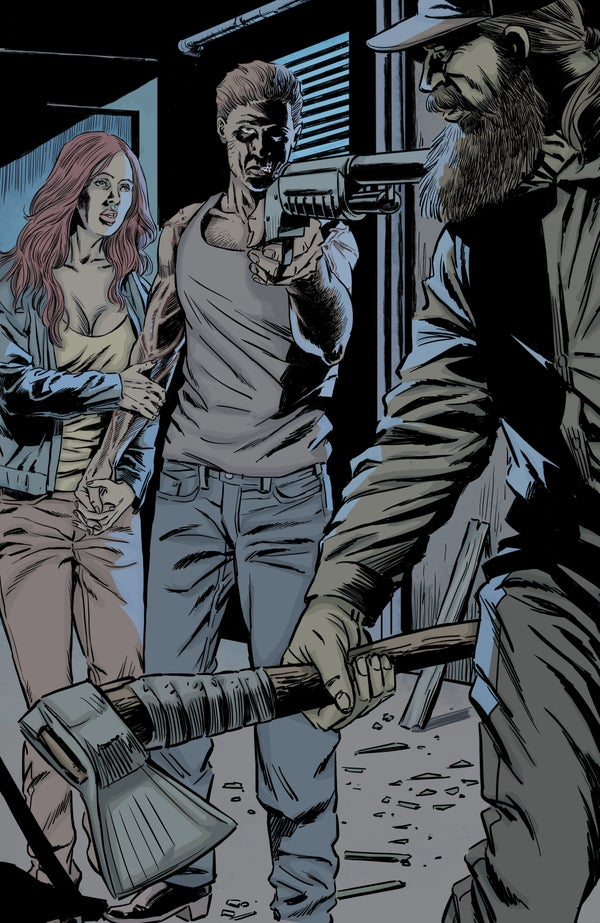 Image of Zombie with a Shotgun Comic Image Signed and printed on 17x22 Photo Paper