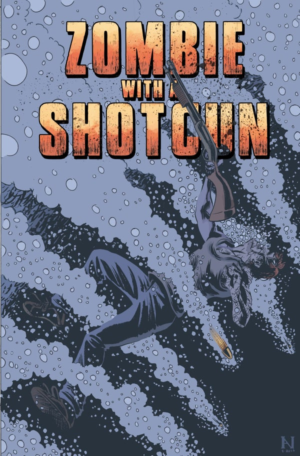 Image of Zombie with a Shotgun Comic Image Signed and printed on 17x22 Photo paper (Issue #2 Cover)