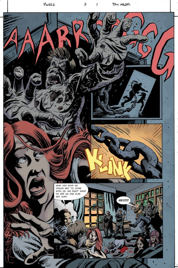 Image of Zombie with a Shotgun Comic Image Signed and printed on 17x22 Photo paper (Issue #2 Page 1)