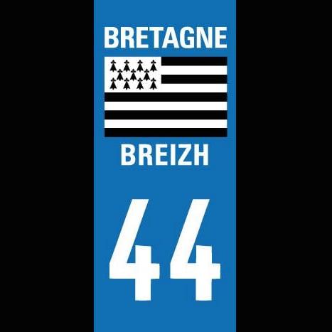 Image of Autocollants plaques d'immatriculation 44 / Bretagne