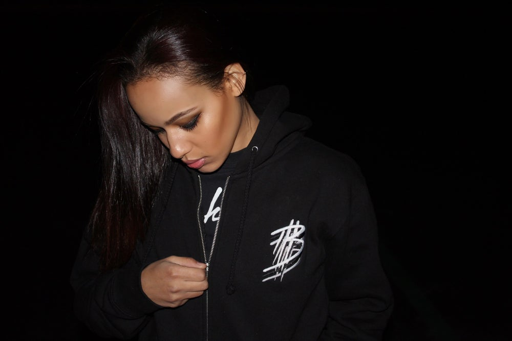 Image of Bankhead signature black triple B zip hoodie