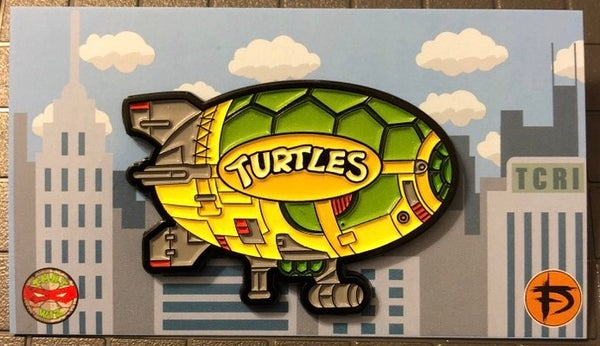 "Image of **B PIN** 2"" Turtle Blimp Soft Enamel Pin (GID)"