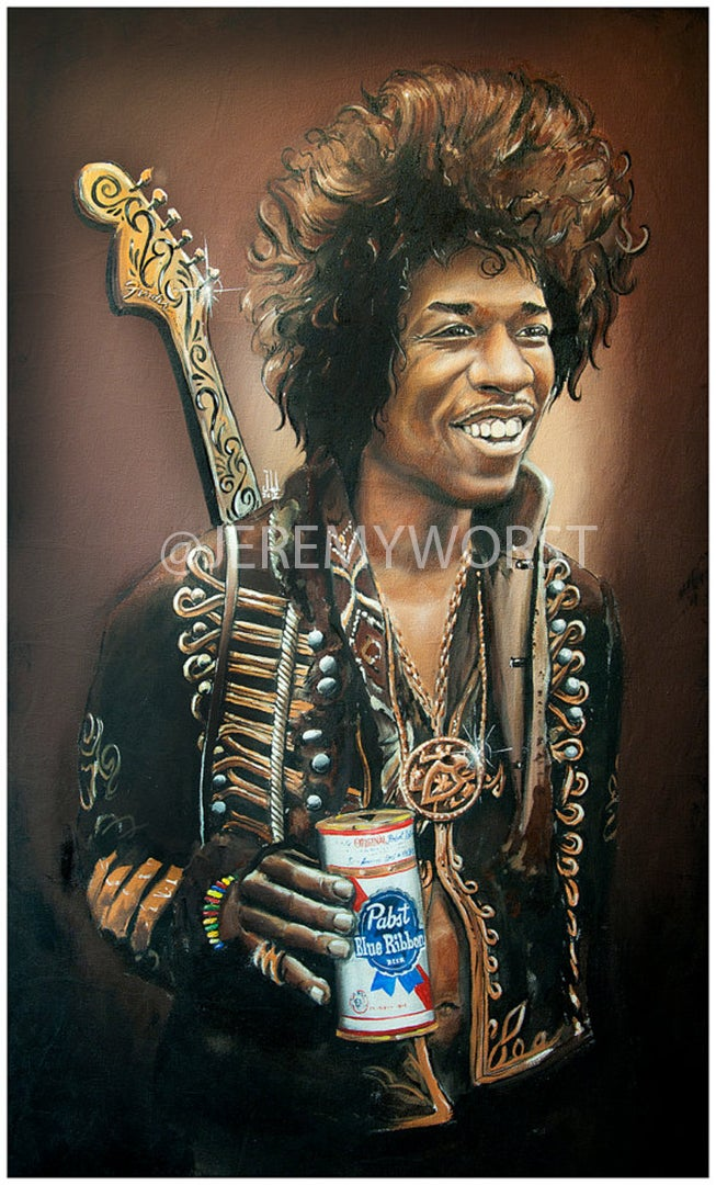 Image of PBR Jimi hendrix artwork painting pabst blue ribbon art legend celebrity music musician fender