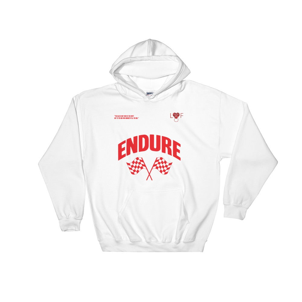 Image of White and red Endure Hoodie (Endure Collection)