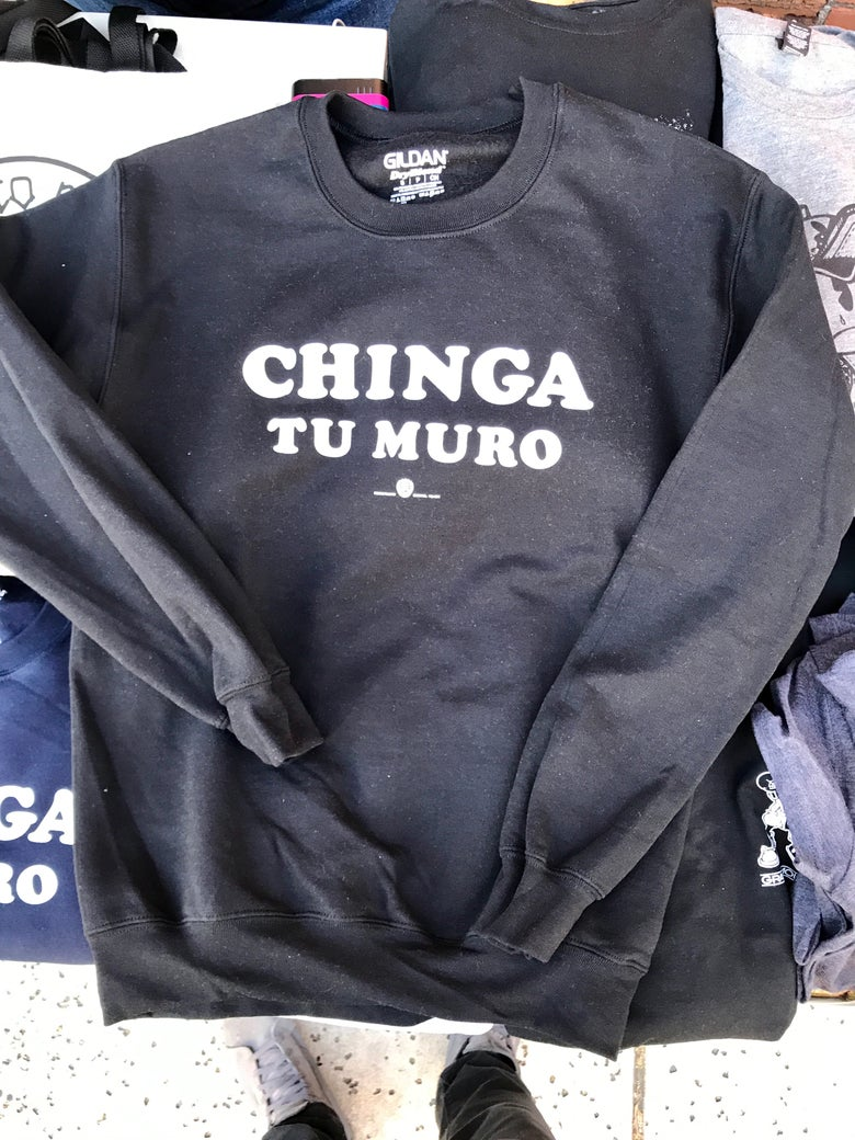 "Image of ""CHINGA TU MURO"" Black CREW SWEATER"