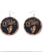 Image of Black Queen wood earrings